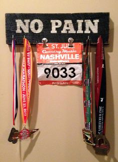 Race Medal and Bib Display Board - Painted Custom Sign | SignsByAndrea.com #customsign #runners #racemedals #marathon #halfmarathon #accomplishments