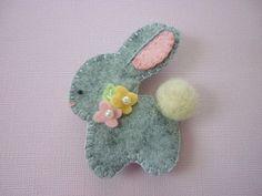 Felt  Bunny Brooch Felt Spring Baby Rabbit by pennysbykristie