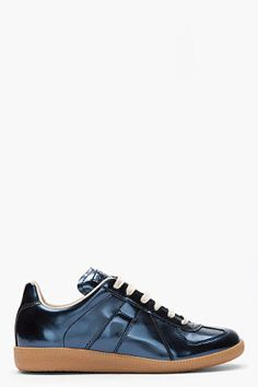 Maison Martin Margiela Metallic Blue Leather Low Top Sneakers for men