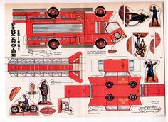 Got some grandkids who will LOVE this - Vintage Fire Engine Firemen CUT OUT Paper Dolls Page 1964 Uncut Plus Chief'S CAR | eBay