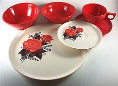 1950's Spaulding Ware 6 pc. MELMAC table setting-RARE floral red rose pattern!