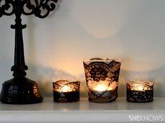 DIY black lace votives