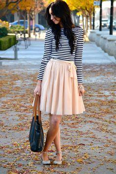 midi skirts, full skirts, tull skirt, tulle skirts, outfit, modest skirts and dresses, blush pink, ballet flats, stripe