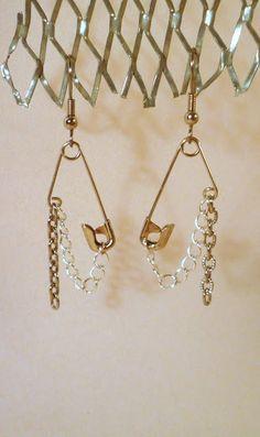 DIY safety pin earrings #tutorial #jewelry