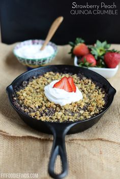 Strawberry Peach Quinoa Crumble with Coconut Whipped Cream via FitFoodieFinds.com #recipe #fitfluential