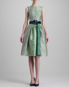 Check-Print Jewel-Neck Dress & Wide Patent Leather Two-Tone Belt by Oscar de la Renta at Neiman Marcus.