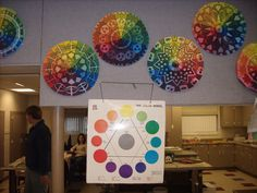 Art I: Color Wheel Project. 12 section mandala was created and each section was colored in tints and shades of the color wheel. It seems the same value was used in each section. I Specific criteria is not given. For middle school I would use 6 sections.