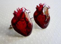 Anatomical heart cufflinks. Awesome.