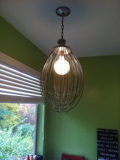 A very creative customer of ours, Emily, got one of our Hobart wire whips and made it into a light fixture for her kitchen. Now that's creative!