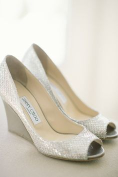 #JimmyChoo Wedge Peep Toe Shoes   On SMP: http://www.StyleMePretty.com/2014/02/04/elegant-newport-estate-wedding/ Jenny Moloney Photography