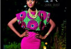 Women's Month 2013 A Vlisco Dutch Wax Textile Co. initiative. 1ST PRIZE -   KYEREWATA ATTA-KRAH   FROM GHANA:  The brand name is April Rust. It is a women's ready-to-wear line that mainly targets women between the ages of 15 and 30. It is currently a small business that I run from my home in Accra, Ghana. I design, sew and market everything personally, making good use of social media and networking, especially through my fan page (@April Cochran-Smith Rust) on Facebook.