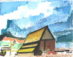 "Our Memories in the Making art therapy program helps individuals with Alzheimer's to express themselves. ""Barn in Provence"" was painted by El Salvador native, Rene. www.alzheimersblog.org"