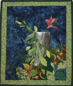 Applique Landscape Quilt Wallhanging bird by ArtworksEclectic, $60.00