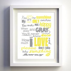 Kids Wall Decor Art Boys Girls Room Decor You Are My Sunshine Poster, original lyrics song, Baby Birthday Gift Baby Shower Gift on Etsy, $15.00