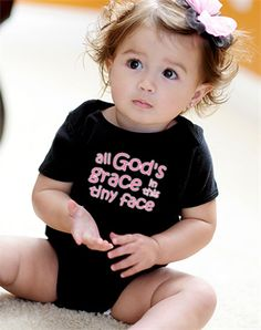 All Gods Grace In This Tiny Face Onesie - Christian Babies Onesie for $17.95 | C28.com