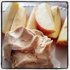 Greek yogurt, peanut butter, cinnamon, and honey dip.
