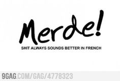 Merde! Always sounds better in french! #quote