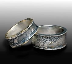 Sediment Wedding Band Set  Sterling Silver 925 and 14K Gold Custom Order any Size