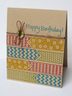 handmade birthday card by Laura Williams ... on layer ... kraft base ... patterned banners wall papered by stamping in earthy colors ... luv the look!