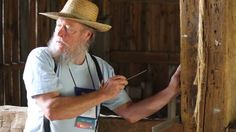 Rudy Christian explains timber frmaing at #ALHFAM13 at Hale Farm and Village