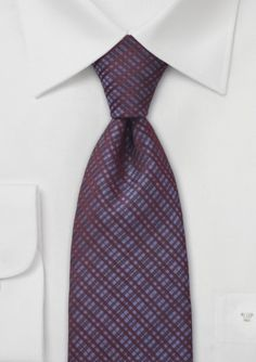 Bows N Ties - Checkered Tie Wine Red and Purple
