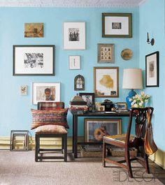 wall colors, interior, modern living rooms, hanging art, elle decor, blue walls, gallery walls, paint colors, benjamin moore