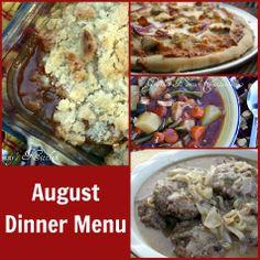 Mommy's Kitchen: August Dinner Menu {MenuPlan Monthly}