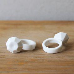 Large 'Diamond' Bone China Ceramic Ring