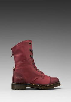 Dr. Martens Aimilie 9-Eye Toe Cap Boot in Cherry Red