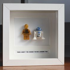 I could easily do this myself - frame Star Wars Legos with captions. Do a Luke and Vader one, and a Han and leia one too. lego star wars ideas, war lego, star wars nursery ideas, star wars craft ideas, frames, frame star, stars, guy starwar, star wars legos