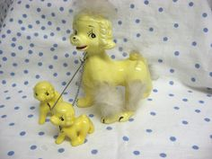Vintage Yellow Poodle Mother w Pups Rabbit Fur Trim Japan