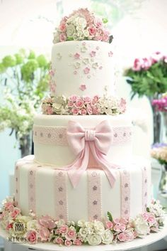 Floral and ribbon cake deecorations