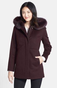 Sachi Genuine Fox Fur Trim Hooded Wool Blend Jacket (Regular & Petite) | Nordstrom