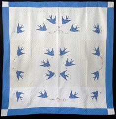 Vintage 1940 Bluebirds of Happiness Quilt | eBay