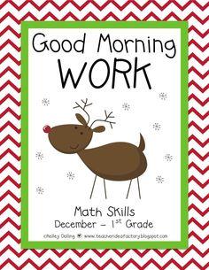 Teacher Idea Factory: GOOD MORNING WORK - DECEMBER + FREEBIE