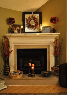 fireplace mantles, fall mantels, decorating ideas, fireplace mantels, fall decorations, corner fireplaces, wreath, hous, mantel decorations