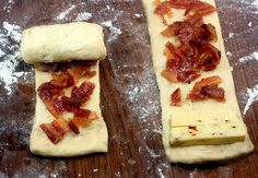 Bacon and Pepper Jack Croissants.  Make it easy using canned crescent rolls!