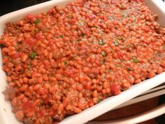 baked beans with sausage, sausages, bake bean, tomato green, baked beans with rotel, rotel tomato, rotel recipes, yummi food, green onions