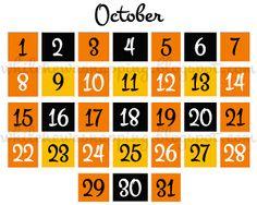 Free Printable Halloween Countdown Calendar