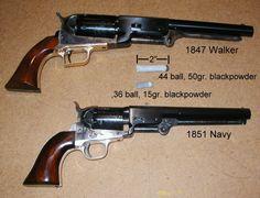 Comparison of Colt Model 1847 'Walker' .44 caliber revolver and Colt Model 1851 'Navy' .36 caliber revolver.