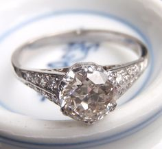 Art Deco Engagement Ring Vintage Platinum by SweetHeirloomVintage, $3500.00