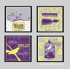 grey and yellow bathroom prints. set of 4