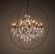Foucault's Orb Crystal Chandelier Rustic Iron Large