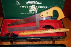 Vintage American Tool Chest - Metal Tool Box and Tools - Childrens Tool Set
