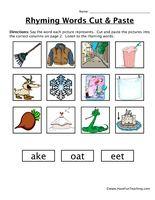 Rhyming Words Cut and Paste Worksheet - Have Fun Teaching