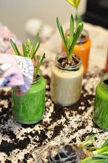 Empty Jars, Paint, Potting Soil and Flower - Mothers Day