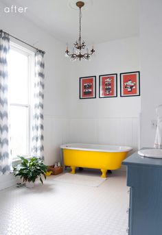 A floral explosion bathroom becomes a restful, spa-like sanctuary thanks to beautifully tiled floors, fresh white paint, and fun pops of color.