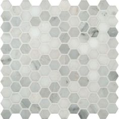 Also known as honeycomb tile, this white hexagon polished marble tile is a showstopper in any kitchen or bath!