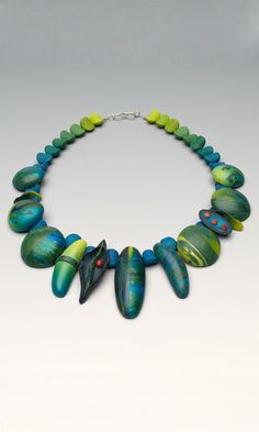 Single-Strand Necklace with Polymer Clay Beads and Drops