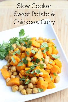 A delicious, hearty, and filling vegetarian slow cooker dish that is also freezer friendly: Sweet Potato Chickpea Curry Recipe | 5DollarDinners.com